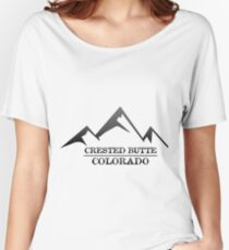 Crested Sticker Butte Colorado Ski Snowboard Resort CO Marble Keeblers Pass Women's Relaxed Fit T-Shirt