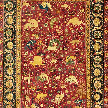 ANTIQUE RED FLORAL PERSIAN CARPET WITH FANTASTIC ANIMALS,BIRDS AND FLOWERS by BulganLumini
