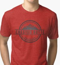 Crested Sticker Butte Colorado Ski Snowboard Resort CO Marble Keeblers Pass Tri-blend T-Shirt