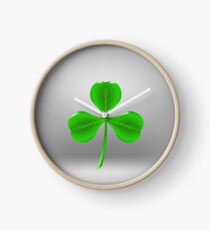 Green Leaf Clover Clock