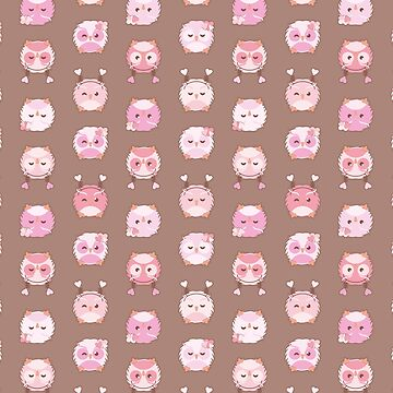 Valentines day owl seamless vector pattern by limengd