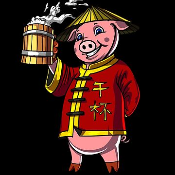 Chinese New Year 2019 Pig Drinking Beer Gift by nikolayjs