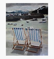 Deck Chairs at St Ives Photographic Print