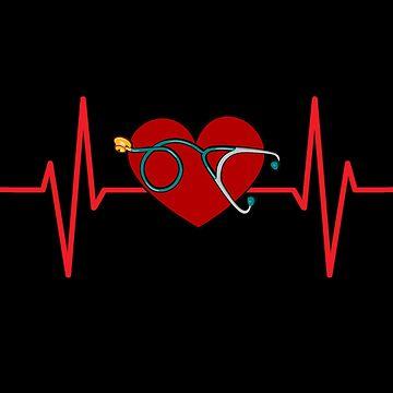 Love My Nurse Happy Valentine's Day Heart Beats Nurse by AYmanee