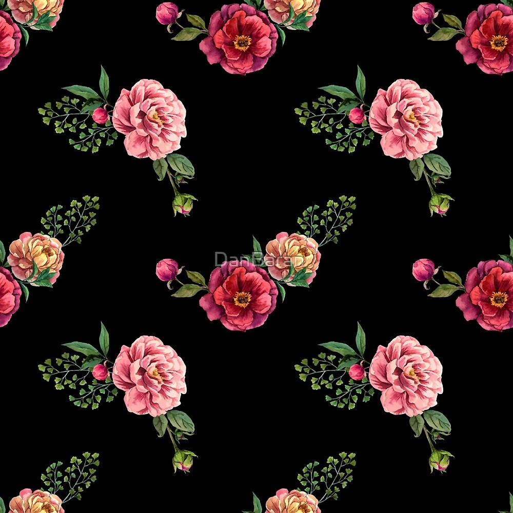 Floral Pattern With Black Background By Danbaran Redbubble