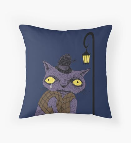 Sad Cat with Moonlight Memories Throw Pillow