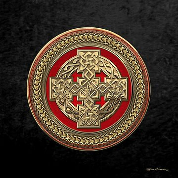 Gold Celtic Knot Cross over Red with Gold Medallion over Black Velvet by Captain7