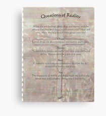 reality  questions and answers Canvas Print