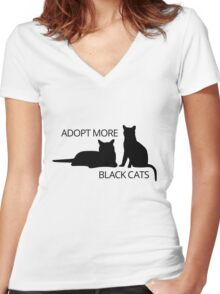 Adopt More Black Cats Women's Fitted V-Neck T-Shirt