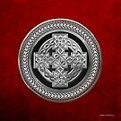 Silver Celtic Knot Cross over Black with Silver Medallion over Red Leather by Serge Averbukh