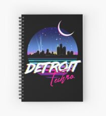 DETROIT TECHNO - Retro 80s Design Spiral Notebook