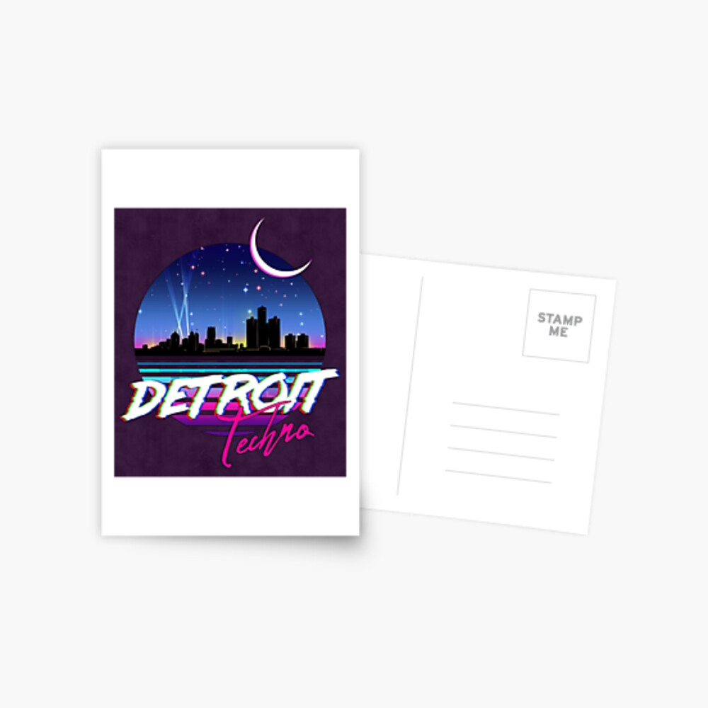 DETROIT TECHNO - Retro 80s Design Postcard