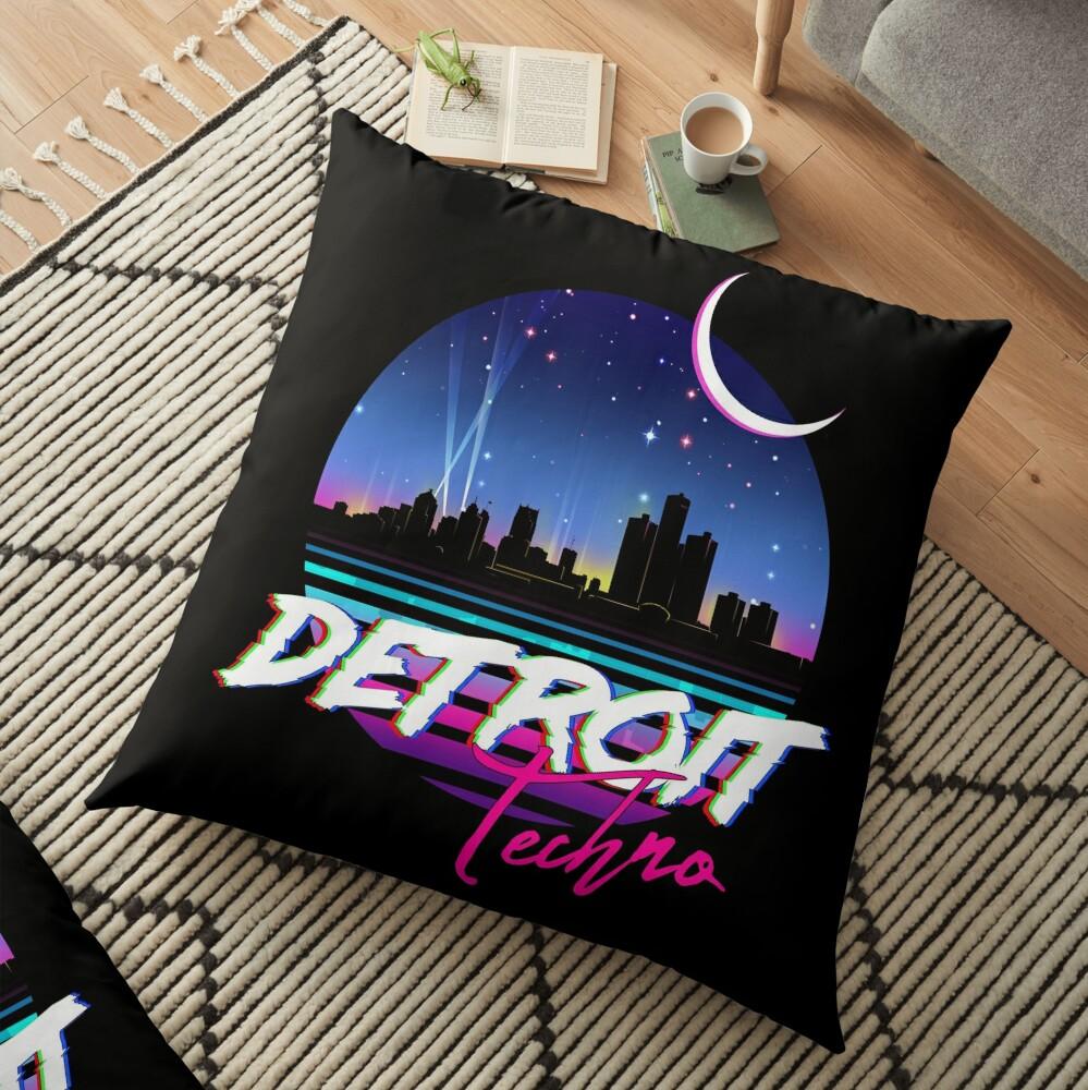 DETROIT TECHNO - Retro 80s Design Floor Pillow