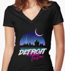 DETROIT TECHNO - Retro 80s Design Fitted V-Neck T-Shirt