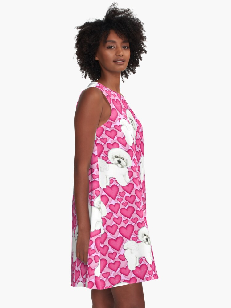 Alternate view of Bichon Frise Valentines Day Love hearts in pink A-Line Dress