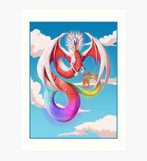 Cherubim - Rainbow dragon Art Print