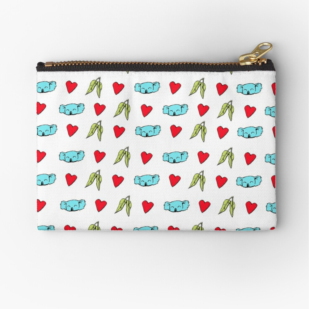 Koala Loves Eucalyptus Leaves Pattern Zipper Pouch