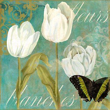 White Tulips I by mindydidit