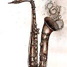 Steampunk saxophone by Jenny Wood