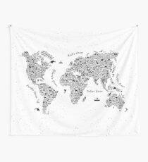 World Map - Globe Global Maps Wanderlust Adventure Typography  Tapestry