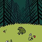 Frog On A Forest Field by BlackLineWhite