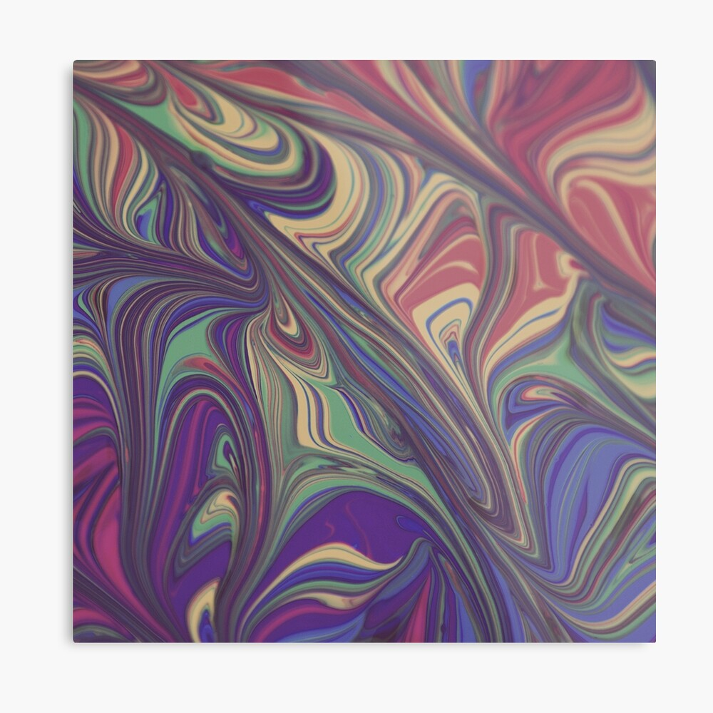 Psychedelic Lines Over the Rainbow Liquid Effect Metal Print