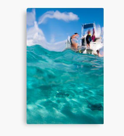 Stingrays under the boat Canvas Print