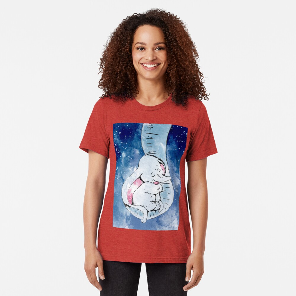 Dumbo and his mother, Mother and baby elephant Tri-blend T-Shirt