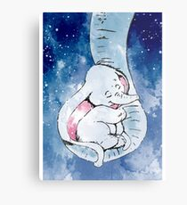 Dumbo and his mother, Mother and baby elephant Metal Print