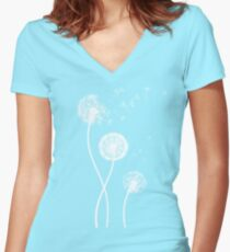 Dandelion Seeds Blowing In The Wind T Shirt Women's Fitted V-Neck T-Shirt