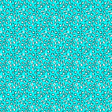 Ocean Blue and Blue Green Leopard Spot Pattern by podartist