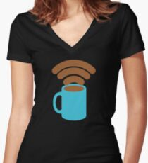 Will Pay for Coffee for Free Wifi Women's Fitted V-Neck T-Shirt