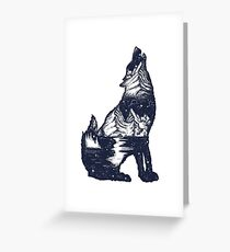 Wolf double exposure Greeting Card