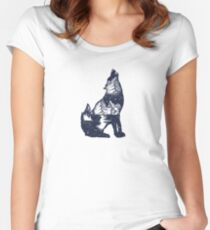 Wolf double exposure Fitted Scoop T-Shirt