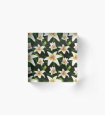 Lily tiger type on green leaves nature pattern seamless Acrylic Block