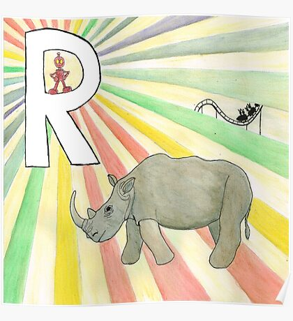 R is for Rhinoceros Poster