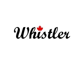 Whistler Canada Script Text Small Maple Leaf Light-Color by TinyStarCanada