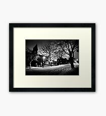 Saltaire Snow Scene at Night Framed Print