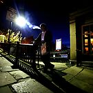 Saltaire Station Entrance Night by Lorne  Campbell