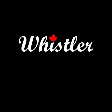 Whistler Canada Script Text Small Maple Leaf Dark Color by TinyStarCanada