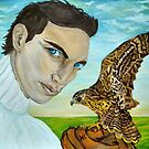 """""""Peale's (Peregrine) Falcon and the Portrait of a Man"""". by MariaSibireva"""