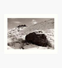 The Wainstones in Winter (Selenium Duotone) Art Print