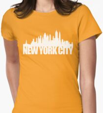 NYC Skyline - white Womens Fitted T-Shirt