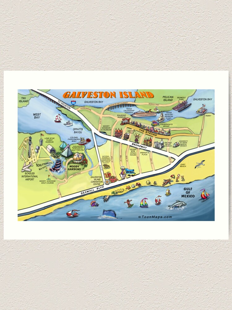 Galveston Texas Cartoon Map | Art Print on texas map, puerto vallarta bay map, galveston gulf map, galveston east end map, lake houston, galveston pier map, the woodlands, galveston ship channel map, galveston coastline map, montgomery county, west bay map, trinity bay map, galveston jetties map, puget sound map, mobile bay map, galveston tx map, beach city, frisco bay map, galveston texas, lake jackson, delaware inland bays map, la porte, seattle bay map, port of houston, san francisco bay map, clear lake, san jacinto river, permian basin, brazoria county, moses lake, nueces river map, ocean city bay map,