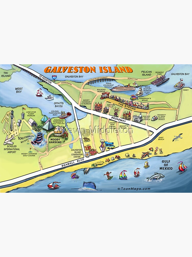Galveston Bay Map on