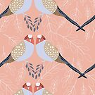 Hand drawn birds on coral background by Mona Iordache