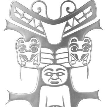 Tribal Totem, silbernes Grau von PixDezines
