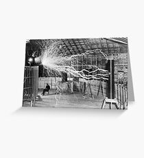 Nikola Tesla with his equipment (June 17, 1901) Greeting Card