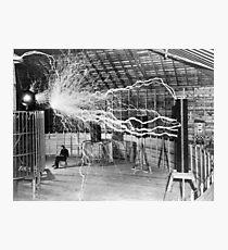 Nikola Tesla with his equipment (June 17, 1901) Photographic Print