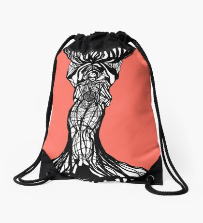 The woman within in living coral Drawstring Bag